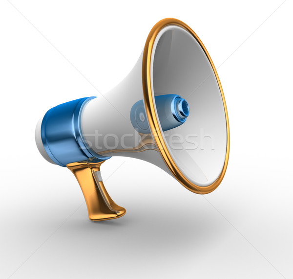 Megafoon retro 3d render illustratie spreker communicatie Stockfoto © coramax