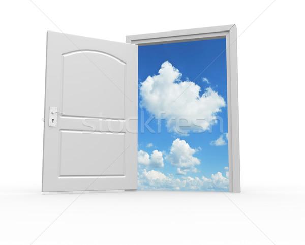 Puerta cielo 3d ilustración nubes Foto stock © coramax