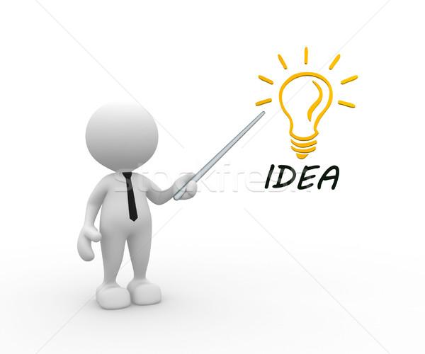 Gloeilamp 3d mensen man persoon woord idee Stockfoto © coramax