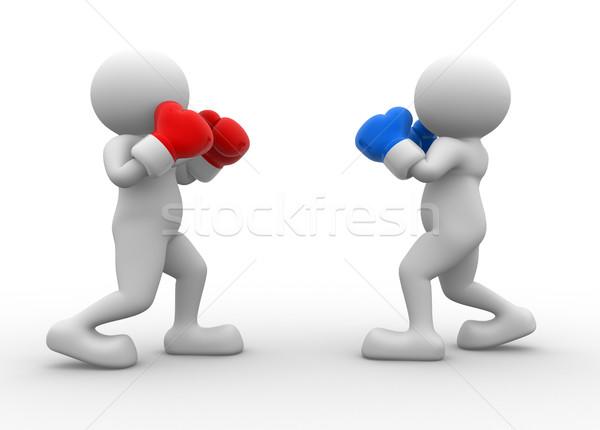 Kettő boxeralsó 3d emberek férfi személy box Stock fotó © coramax