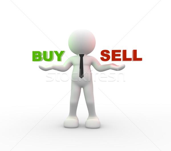 Vásárol elad 3d emberek férfi személy tart Stock fotó © coramax
