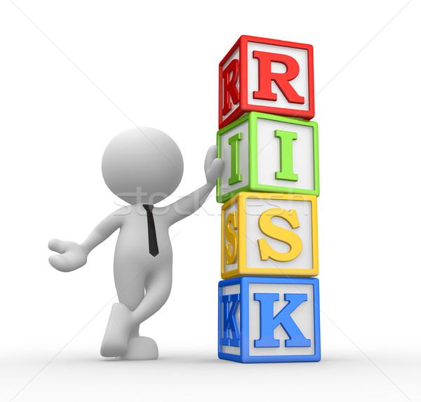 Kockák 3d emberek férfi személy szó kockázat Stock fotó © coramax