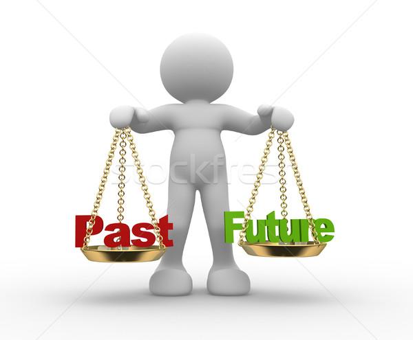 Verleden toekomst schaal 3d mensen man persoon Stockfoto © coramax
