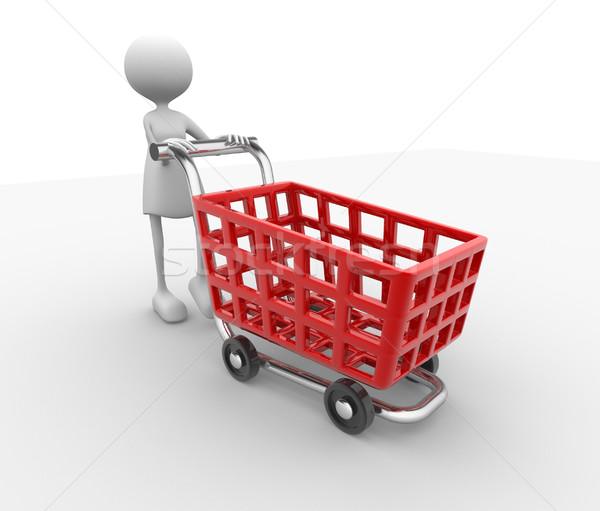 Women and shopping car Stock photo © coramax
