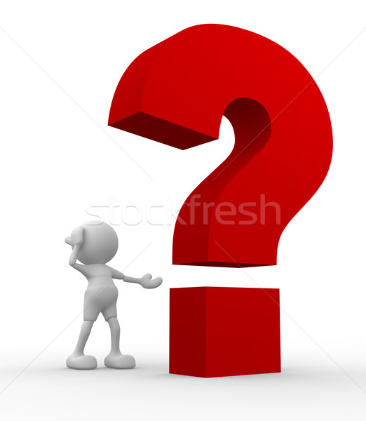 ストックフォト: 疑問符 · 3次元の人々 · 男 · 人 · ビッグ · 背景