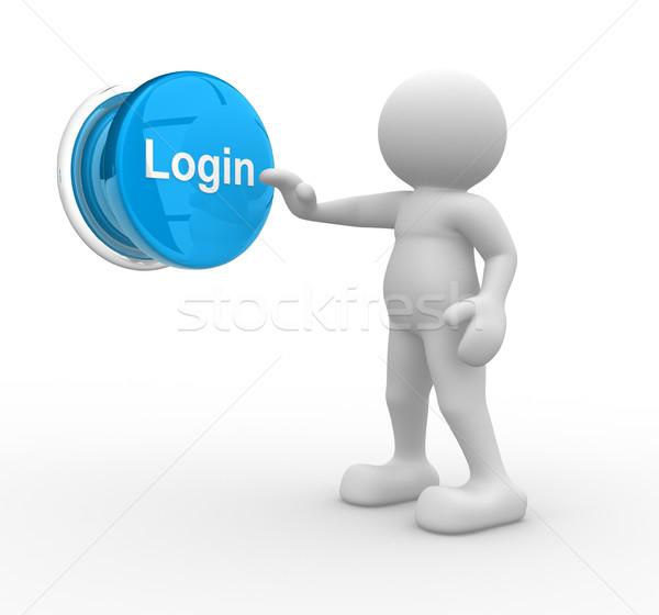 Botón login 3d personas humanos carácter persona Foto stock © coramax