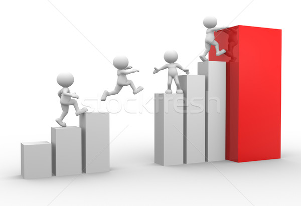 Gráfico traçar 3d pessoas homens pessoa saltando Foto stock © coramax