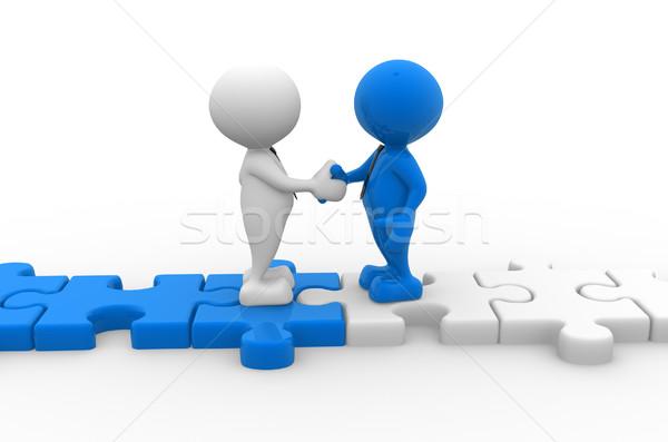 головоломки 3d люди мужчин человек рукопожатием головоломки Сток-фото © coramax