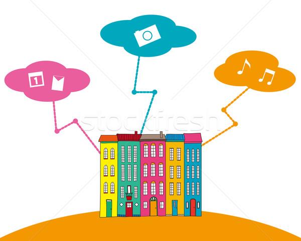 иллюстрация город облака интернет здании фон Сток-фото © coroichi
