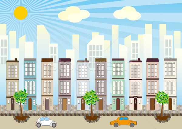 Cityscape иллюстрация небе дома дерево здании Сток-фото © coroichi
