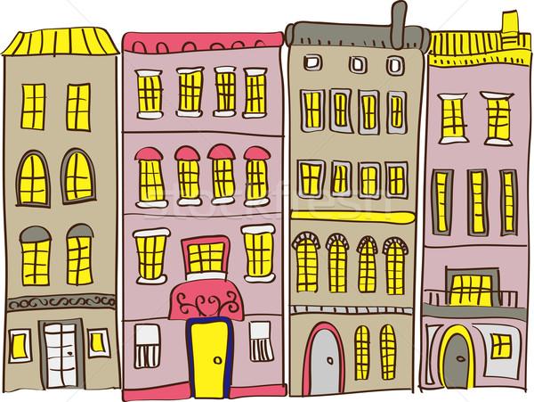Stock fotó: Illusztráció · városkép · ház · út · épület · város