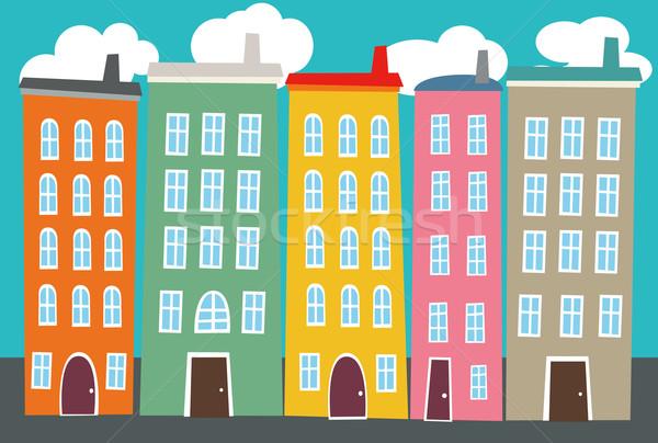 Cityscape иллюстрация дома дороги здании город Сток-фото © coroichi