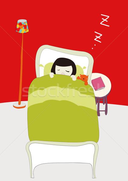 Kız uyku örnek adam çocuk kırmızı Stok fotoğraf © coroichi