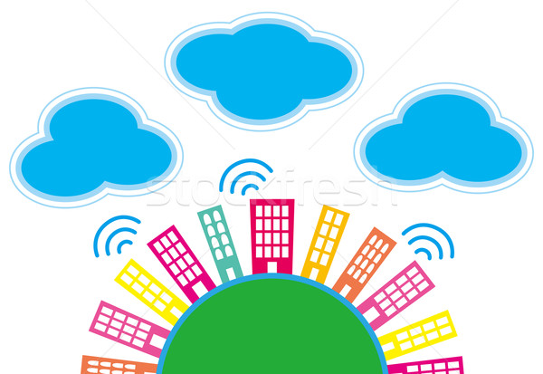 It is an illustration of the city and clouds. Stock photo © coroichi