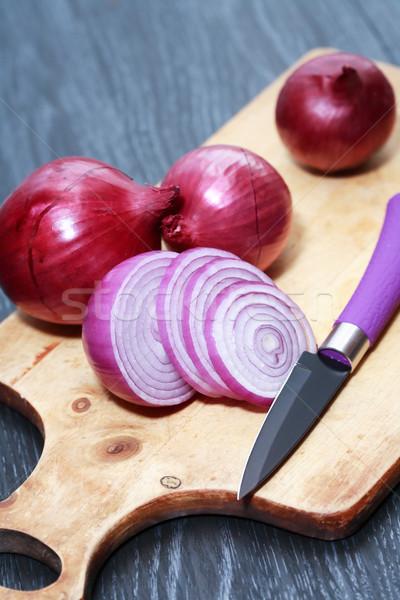 タマネギ 赤 ナイフ 木製 まな板 ストックフォト © cosma