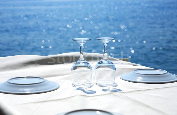 étterem tenger asztal üres tányérok kék Stock fotó © cosma