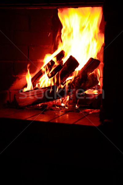Kandalló láng tűzifa égő otthon háttér Stock fotó © cosma