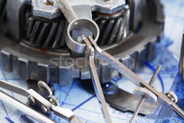 Engrenagens diagrama engenharia conjunto indústria aço Foto stock © cosma