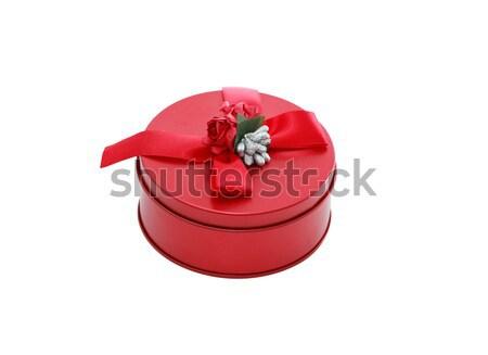 Piros ajándék doboz fehér izolált vágási körvonal rózsa Stock fotó © cosma