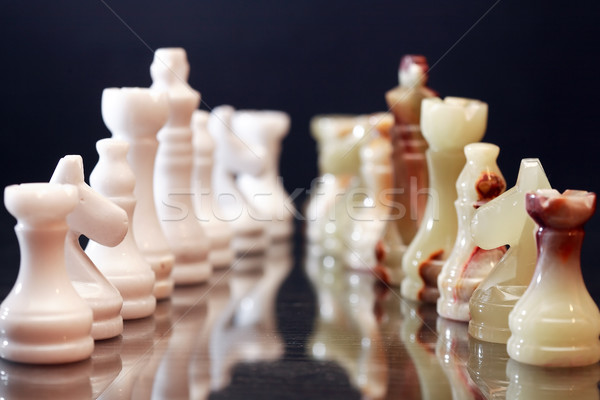 Peças de xadrez confronto conjunto esportes abstrato arte Foto stock © cosma
