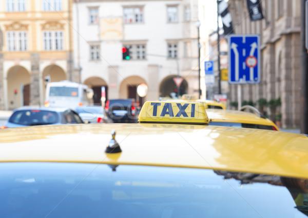 такси стоять желтый улице Сток-фото © cosma