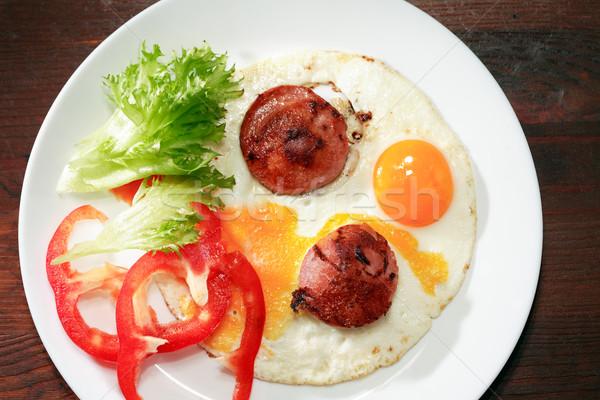 Eieren spek niemand voedsel snack Stockfoto © cosma