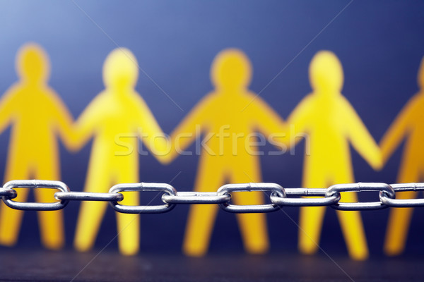 Refugee Concept. People Against Chain Stock photo © cosma