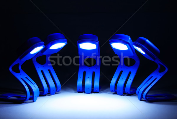 Lavoro di squadra pochi blu lampade fila Foto d'archivio © cosma