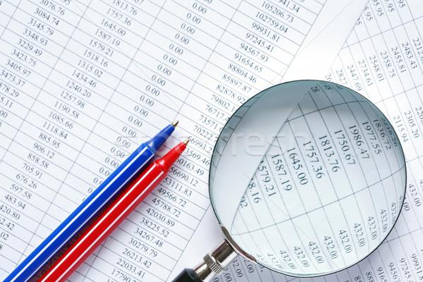 Nagyító számjegyek üzlet kutatás szín tollak Stock fotó © cosma