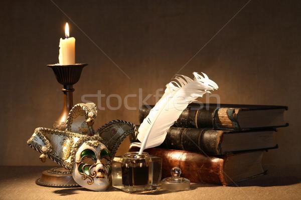 Klasszikus csendélet öreg világítás gyertya velencei maszk Stock fotó © cosma