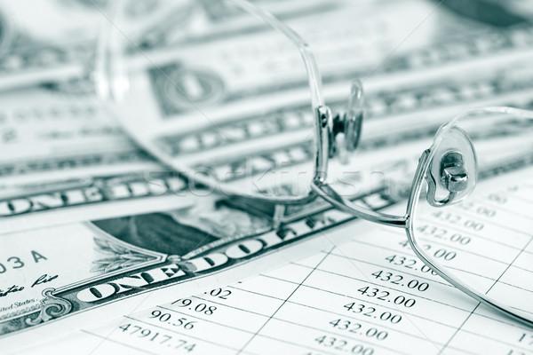Gafas dinero negocios primer plano papel mesa Foto stock © cosma