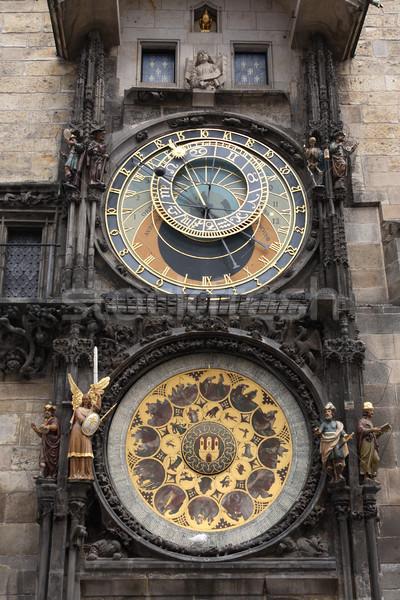 Prag saat ünlü belediye binası kule astronomik Stok fotoğraf © cosma