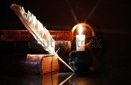 öreg könyvek klasszikus csendélet világítás gyertya Stock fotó © cosma