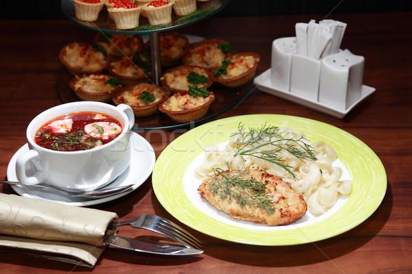 étel vacsora szett tál leves kotlett Stock fotó © cosma