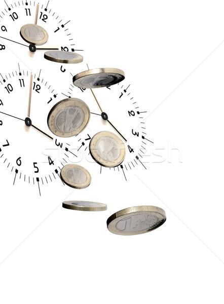 Il tempo è denaro business battenti euro monete clock Foto d'archivio © cosma