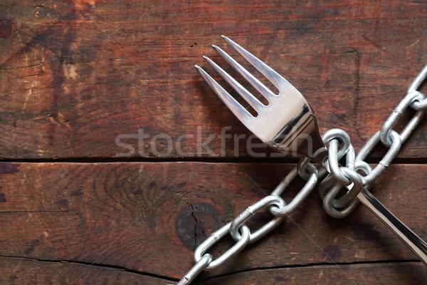 Villa lánc csatolva fém fából készült háttér Stock fotó © cosma