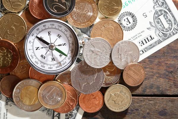 компас деньги финансовых различный Мир валюта Сток-фото © cosma