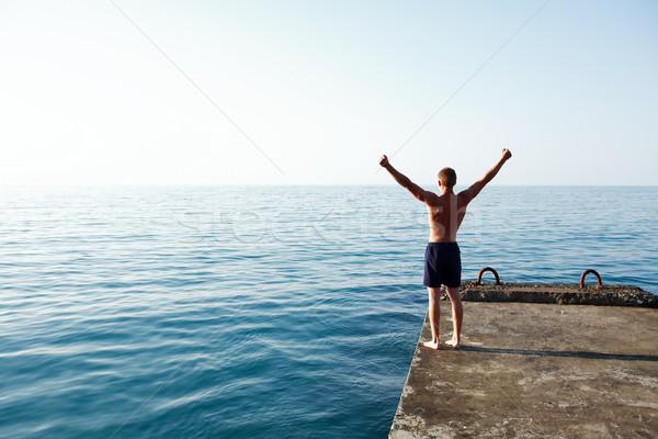 Sabah iyi deniz ayakta iskele Stok fotoğraf © cosma