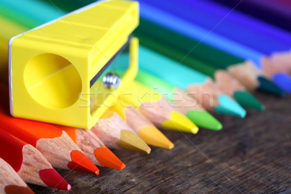 Farbują temperówka żółty zestaw kolor Zdjęcia stock © cosma
