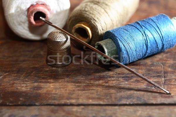 Coser establecer madera dedal aguja hilo Foto stock © cosma