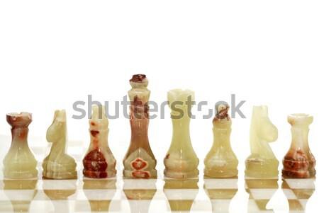 Piezas de ajedrez bordo establecer blanco deporte caballo Foto stock © cosma