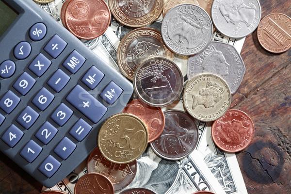 Számológép pénz pénzügyi különböző világ valuta Stock fotó © cosma