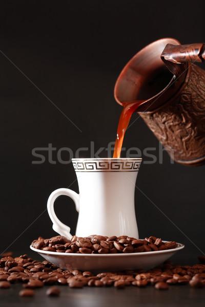 Fincan kahve siyah kahve bağbozumu pirinç Stok fotoğraf © cosma