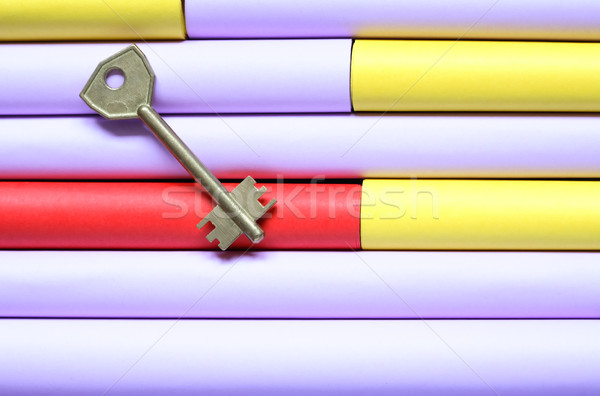 Key On Color Paper Stock photo © cosma