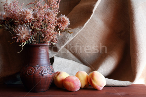 Flores melocotón agradable ramo secar cerámica Foto stock © cosma