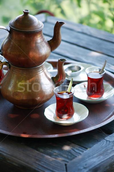 Türk çay geleneksel bakır demlik yaz Stok fotoğraf © cosma