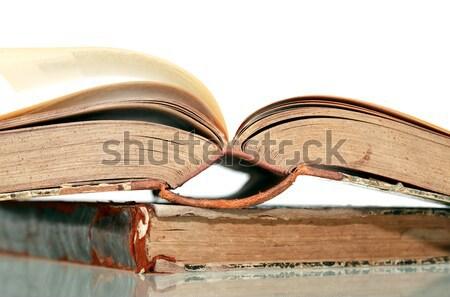 öreg könyvek közelkép boglya vászon papír Stock fotó © cosma