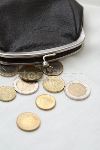 ウォレット コイン ヴィンテージ 黒 革 白 ストックフォト © cosma