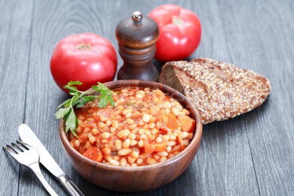 Stewed Beans On Wood Stock photo © cosma
