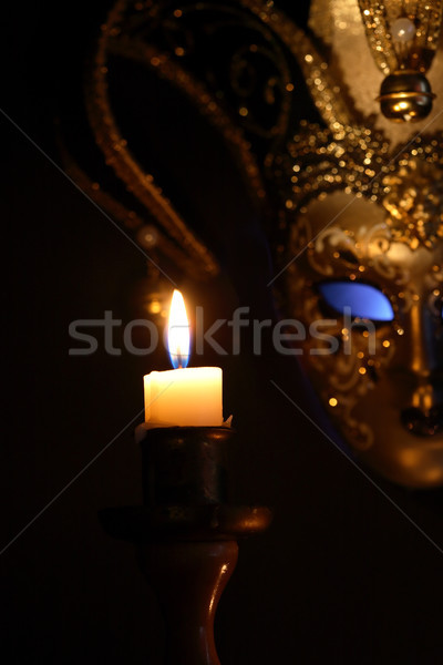 ベネチアンマスク 照明 キャンドル 美しい クラシカル 暗い ストックフォト © cosma